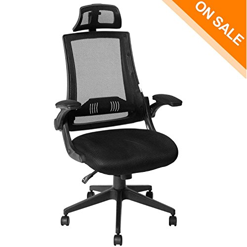 KADIRYA High Back Ergonomic Mesh Office Chair with Mesh Seat - Adjustable 90-110 Degree Tilt Lock, Flip-up Armrest, Lumbar Support and Headrest Computer Desk Task Chair, (Rocker Lock Pick)