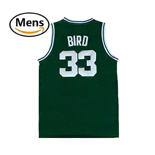 maodege Men's Larry Jerseys Boston 33 Basketball Jersey Bird Jerseys Green (XXL)