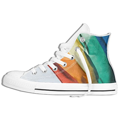 Classic High Top Sneakers Canvas Shoes Anti-Skid Color Flag Casual Walking For Men Women White w0B9oFRu6