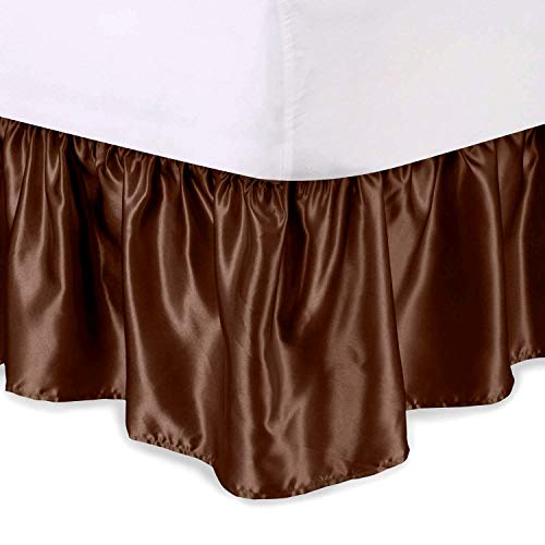 - WINGS COLLECTION Fade Resistance Smooth Satin Silk 1 PC Dust Ruffle Bed Skirt 15 inch Drop (Chocolate, Queen XL Size) Fully Elastic for Easy Fit Single Ruffled Bedskirt