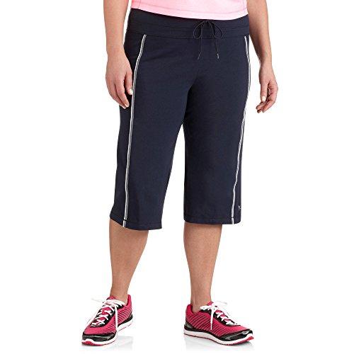 (Danskin Now Womens Plus-Size Dri-More Core Piped Bermuda Shorts (1X Plus, Blue))