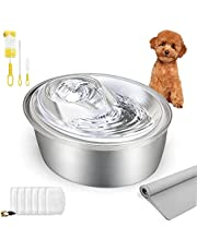 ORSDA Stainless Steel Cat Water Fountain, Pet Fountain Dog Water Dispenser, Ultra-Quiet Automatic Cat Drinking Fountains with 6 Replacement Filters & 1 Silicone Mat for Multiple Cats, Dogs (3L)