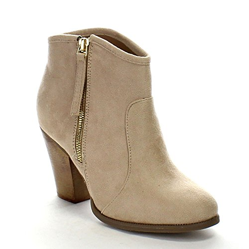 Liliana Romane-1 Femmes Talon Chunky Chevauchant Les Bottines Nu