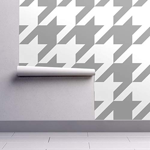 Peel-and-Stick Removable Wallpaper - Houndstooth Houndstooth Check Classic Preppy White Large Pewter by Peacoquettedesigns - 12in x 24in Woven Textured Peel-and-Stick Removable Wallpaper Test Swatch (Wallpaper Preppy)