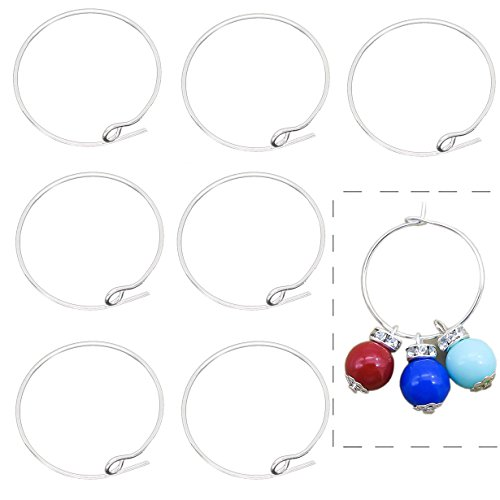 BronaGrand 100 Pieces Silver Plated Wine Glass Charm Rings Earring Hoops (Wine Glass Earrings)