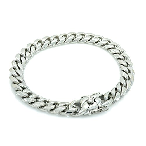Bling Bling NY Solid Silver Finish Stainless Steel 10mm Thick Miami Cuban Link Chain Box Clasp Lock (Bracelet 7'')