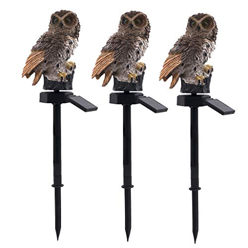 Alisy Night Lamp, LED Garden Outdoor Solar Lights ❤️Alisy❤️3PCS Owl Shape Solar Powered Stake Landscape Light for Walkway, Pathway, Yard, Lawn (B 3 x Brown)