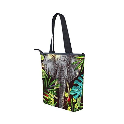 Hombro Bolso La De Verano Hoja De Tropical Lona Las Mujeres De Elefante Mydaily Totalizador Del Bolso Del Del 0xBnwqIpOE