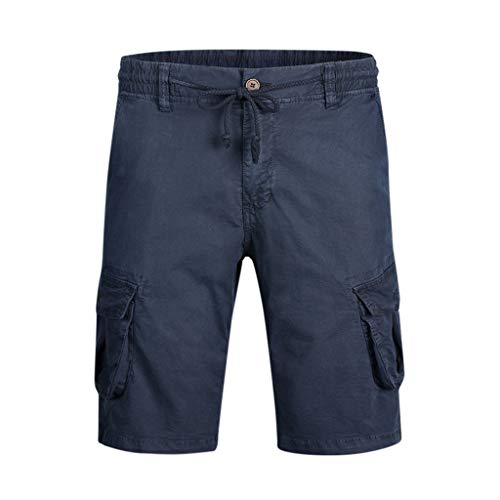 Benficial Fashion Men's Casual Cotton Pocket Solid Outdoors Work Trouser Cargo Short Pants Dark Blue