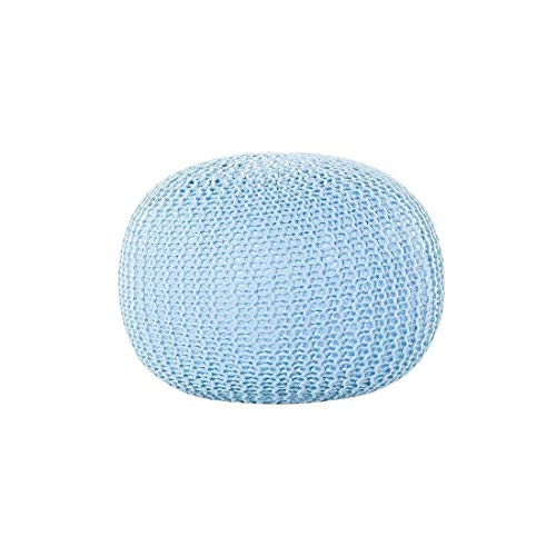 """Prestige Decor Hand Knitted Cable Style Dori Pouf - Floor Ottoman - 100% Cotton Braid Cord - Handmade & Hand Stitched - Truly one of a Kind Seating - 20 x 14 Knitted Round Pouf 20"""" (Aqua Blue)"""