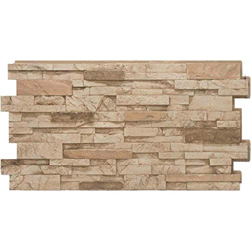 Stacked Stone #35 Desert Tan 24 in x 48 in Stone Veneer Panel 4Pack