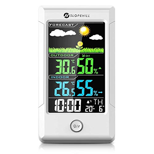 Slopehill Wireless Weather Station, Digital Thermometer Hygrometer with Outdoor Sensor for Indoor and Outdoor, White Backlight and time Display for Home, Baby Nursing Room, Bedroom, Office
