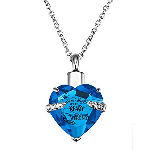 PREKIAR Heart Cremation Urn Necklace for Ashes Urn Jewelry Memorial Pendant with Fill Kit and Gift Box - Always on My Mind Forever in My Heart (Your Wings were Ready-Blue)