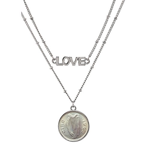 "n Pendant Necklace Love – Ireland Three Pence Harp Coin for Collectors | Silvertone Chain |Lobster Claw Clasp | Double Strand 18"" Saturn Style Chain for Women 