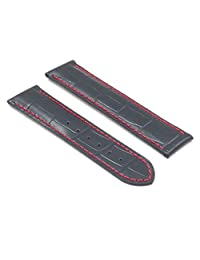 DASSARI Aston Black w/ Red Stitching Crocodile Leather Embossed Watch Strap for OMEGA 22/20 22mm