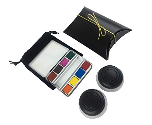 Artist Complete Authentic Whiskey Painter Travel Sketcher Watercolor Kit 8 Brilliant Half Pan Color Set, Carry Pouch, 2 Clip on Palette Cups, Fits in Your Pocket!