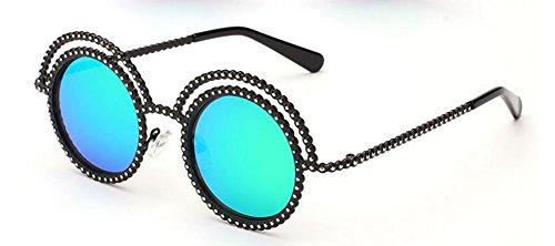 en soleil vintage du lunettes polarisées Vert cercle retro métallique style de Film Lennon inspirées rond TfqwqzS