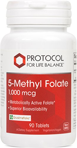 Protocol For Life Balance – 5-Methyl Folate 1,000 mcg – Metabolically Active Folic Acid 5-MTHF – Supports Brain, Heart, & Nerve Health, Helps Improve Immune System, Healthy Pregnancy – 90 Tablets For Sale
