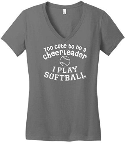 Cute Cheerleader Softball Juniors V Neck
