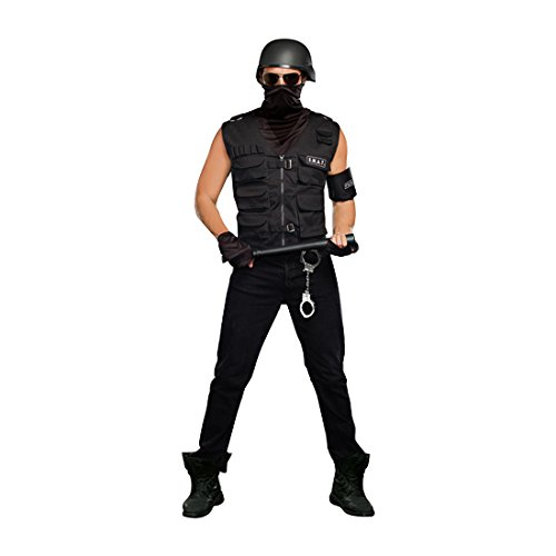 [Dreamgirl Men's Special Ops Costume, Black, Medium] (Swat Vest Costume)