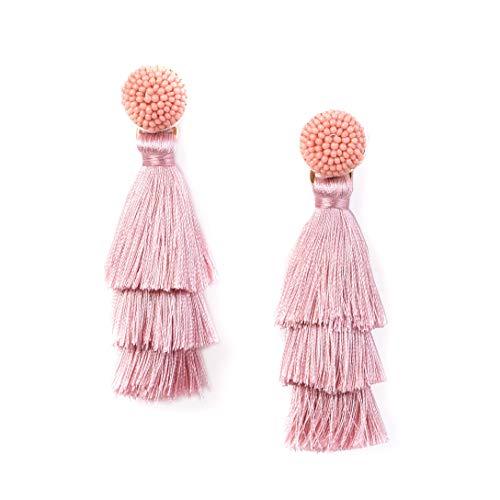RIVERTREE Womens Layered Tassel Earring Beaded Boho Statement Fringe | Pink 3 Tiered Long Vintage Chandelier Drop Dangle Earring