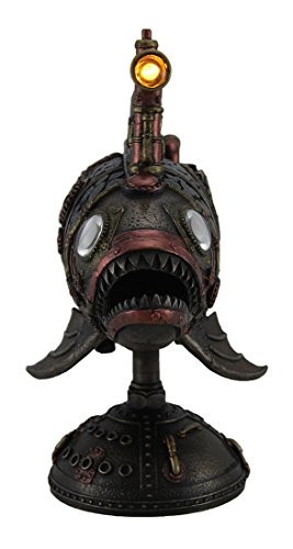 Zeckos Resin Statues Ss Anglerfish Steampunk Submarine Statue W/Led Periscope 12 X 9.25 X 5 Inches Bronze 4