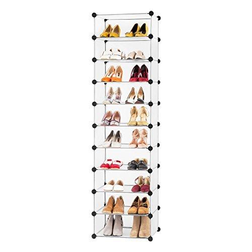 [LANGRIA 10-Cube Shoe Rack Organizer Tower, Multi Use Storage DIY Modular Combination, Freestanding Organizer Cabinet with Doors, Translucent White] (Shoe Tower)