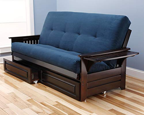 Kodiak Futons KF Phoenix Futon in Espresso Finish with Storage Drawers, Suede Navy, ()