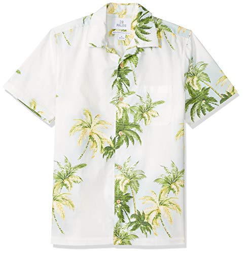 (28 Palms Men's Standard-Fit 100% Cotton Tropical Hawaiian Shirt, Natural/Green/Blue Tree, Medium)