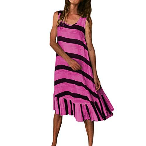 - Women's Summer Tank Dresses Casual Striped Sleeveless Ruffles Beach Swing Maxi Dress Plus Size Hot Pink