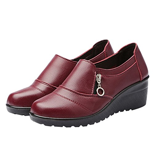 Dear Time Women Zipper Low Heel Leather Shoes Red eW8Dj0K8BO