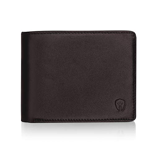 2 ID Window RFID Wallet for Men, Bifold Side Flip, Extra Capacity Travel Wallet (Brown - Sheepskin Leather) (Wallet Bifold Flip)