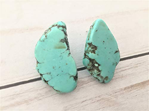 (Freeform Turquoise Stud Earrings)