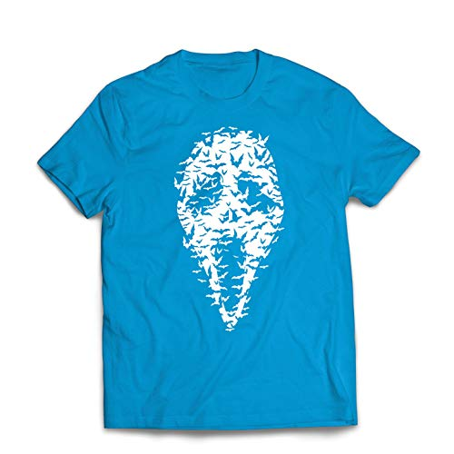 lepni.me Men's T-Shirt Ghost Scary Face Bats, Halloween Party Costume (Large Blue Multi Color) ()
