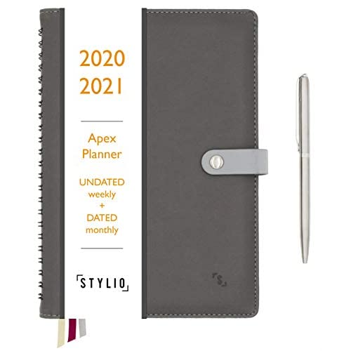 STYLIO Apex Planner 2020/2021 Undated Weekly, Dated Monthly Calendar. Daily Personal Agenda Organizer for Business/Academic/School Life. Goals, Passion Journal Notebook for Teachers & College Students