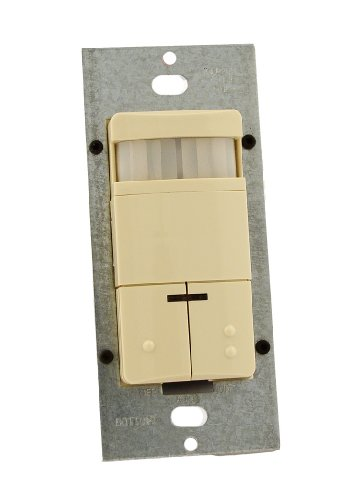 Leviton ODS0D-TDI Dual-Relay, Decora Passive Infrared Wall Switch Occupancy Sensor, Auto-On or Manual-On, 180 Degree, 2100 sq. ft. Coverage, Title 24, Ivory