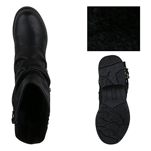 Stiefelparadies Damen Schuhe Stiefeletten Biker Boots Warm Gefütterte Stiefel Blockabsatz Flandell Schwarz
