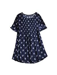 HIKO23 Women Casual Boho Plus Size Tops Loose Linen Blouse Polka Dots Swing Long Tunic Shirts