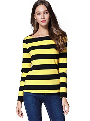 HUHOT Women's Long Sleeve Boat Neck Striped Relax Fit Christmas Tee Shirts Yellow and Black Medium HS6447-9 ()