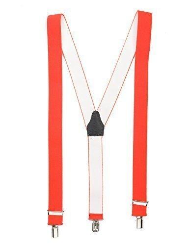Neonorange hochwertiger Hosenträger mit 3 Clips Klips Y-Form Männer Damen Hose Jeans Fasching Oktoberfest Fassnacht Karneval neonorange neon orange 2078