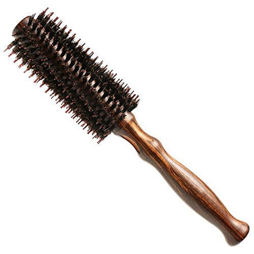 Double Bristle Round Hair Brush with Natural Soft Boar Bristle and Nylon - Volumizing and Detangling Wooden Barrel Brush for Fine, Thick or Curly Hair - Professional Salon Styling Quality