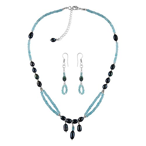 Pearlz Ocean Apatite and Fresh Water Pearl Necklace Set