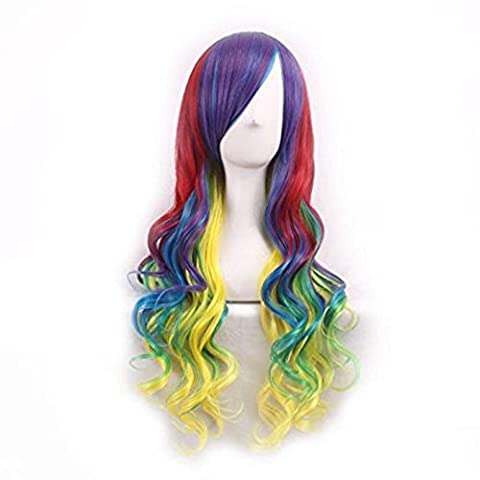 Wig,Baomabao Women Lady Long Hair Wig Curly Wavy Synthetic Anime Cosplay Party (I)