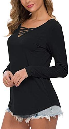 WNEEDU WOMEN'S CASUAL LONG SLEEVE T-SHIRT CRISS CROSS V-NECK BASIC TEES TOPS