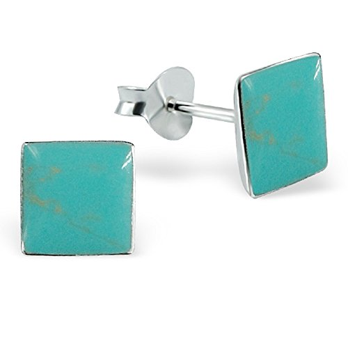 925 Sterling Silver Turquoise Square Mother of Pearl Seashell Stud Earrings 14101