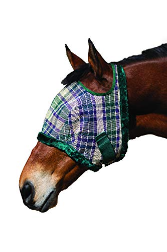 Kensington Fly Mask Fleece Trim for Horses - Protects Face, Eyes from Flies, UV Rays While Allowing Full Visibility - Breathable Non Heat Transferring, Perfect Year Round, (B, Deluxe Hunter)