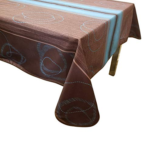(Tablecloth Blue Brown Anti Stain Anti Wrinkle Water Proof 100% Polyester (58