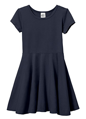 City Threads Big Girls' Short Sleeve Twirly Circle Party Dress Perfect for Sensitive Skin/SPD/Sensory Friendly for School or Play Fall/Spring, Navy, 8