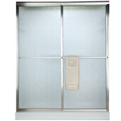 American Standard AM00750422.213 Prestige Framed By-Pass Bath Doors with Rain Glass, Silver Shine