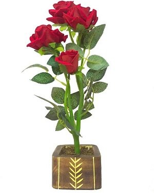 buy sofix diy red rose flowers with woden pot natural looking 5